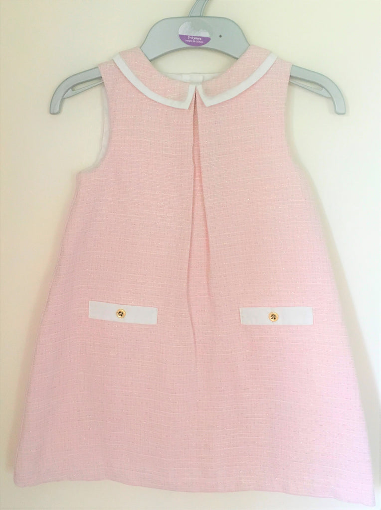 New Girls Tweed Shift Dress - Baby Pink/Gold Metallised Fibres - Party - Ages 3-6 Years