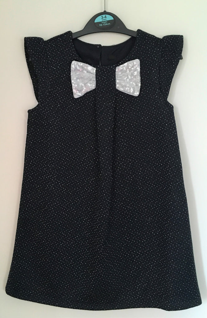 New Ex George Girls Dark Navy Blue Sparkle Dress - Ages 18/24M & 2-6 Yrs
