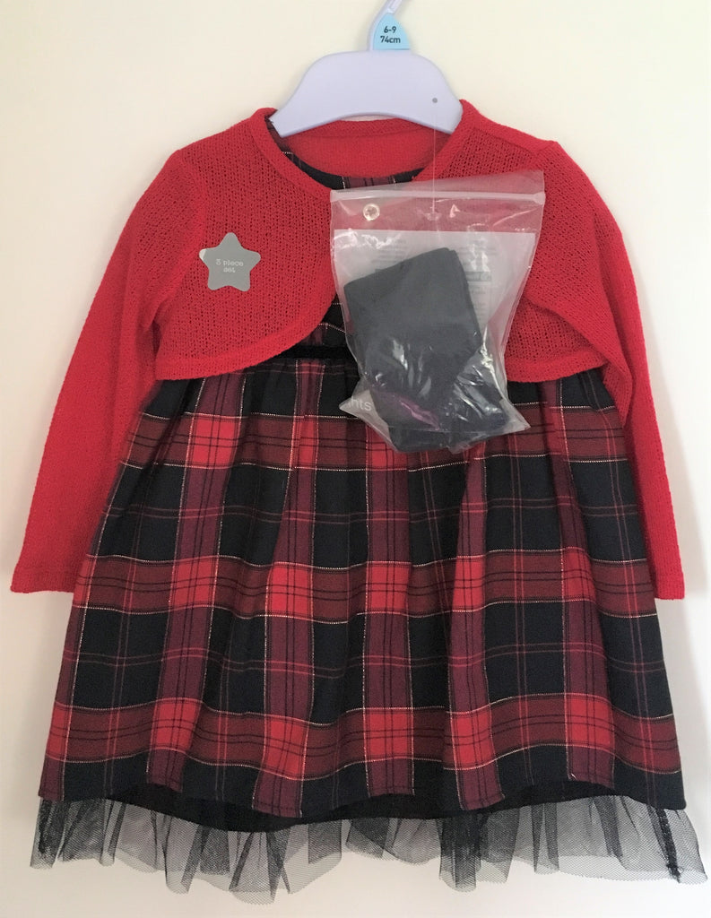 New Girls Red Winter Tartan 3Pc Dress Set - Ex F&F - Dress, Bolero/Tights 3/6, 6/9, 18/24M