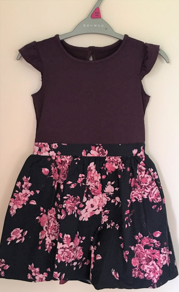 New Girls Purple Floral Skirted Dress - Ex Nutmeg Morrisons Ages 12/18M, 2-6 Y