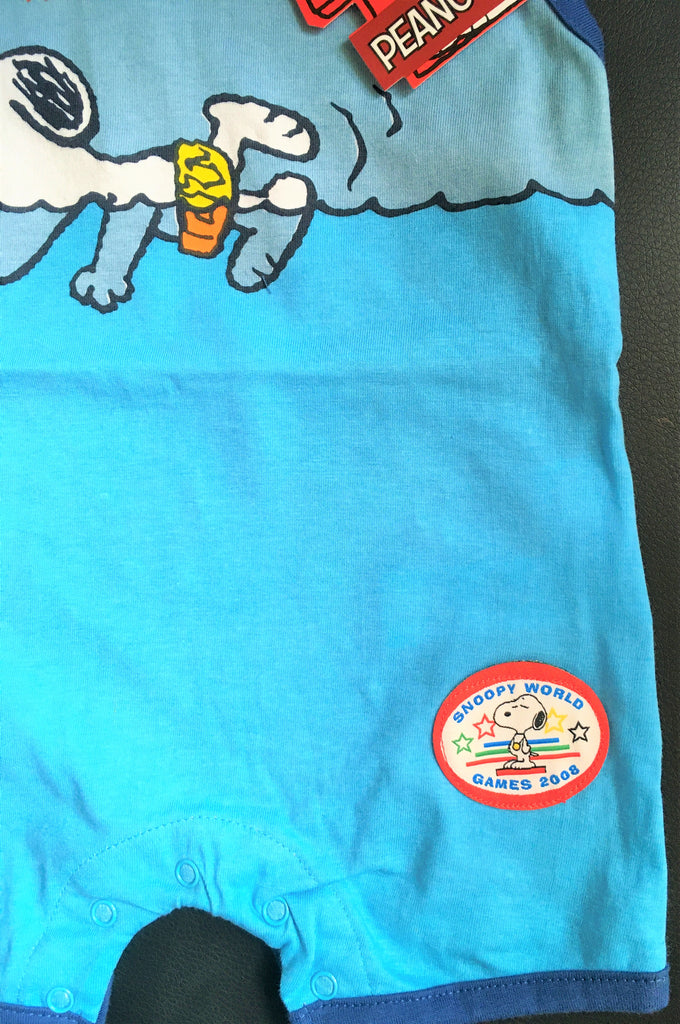 New Peanuts Snoopy Boys Blue Romper Suit Vest - Snoopy World Games 2008 - 100% Cotton - Ages 3-24M