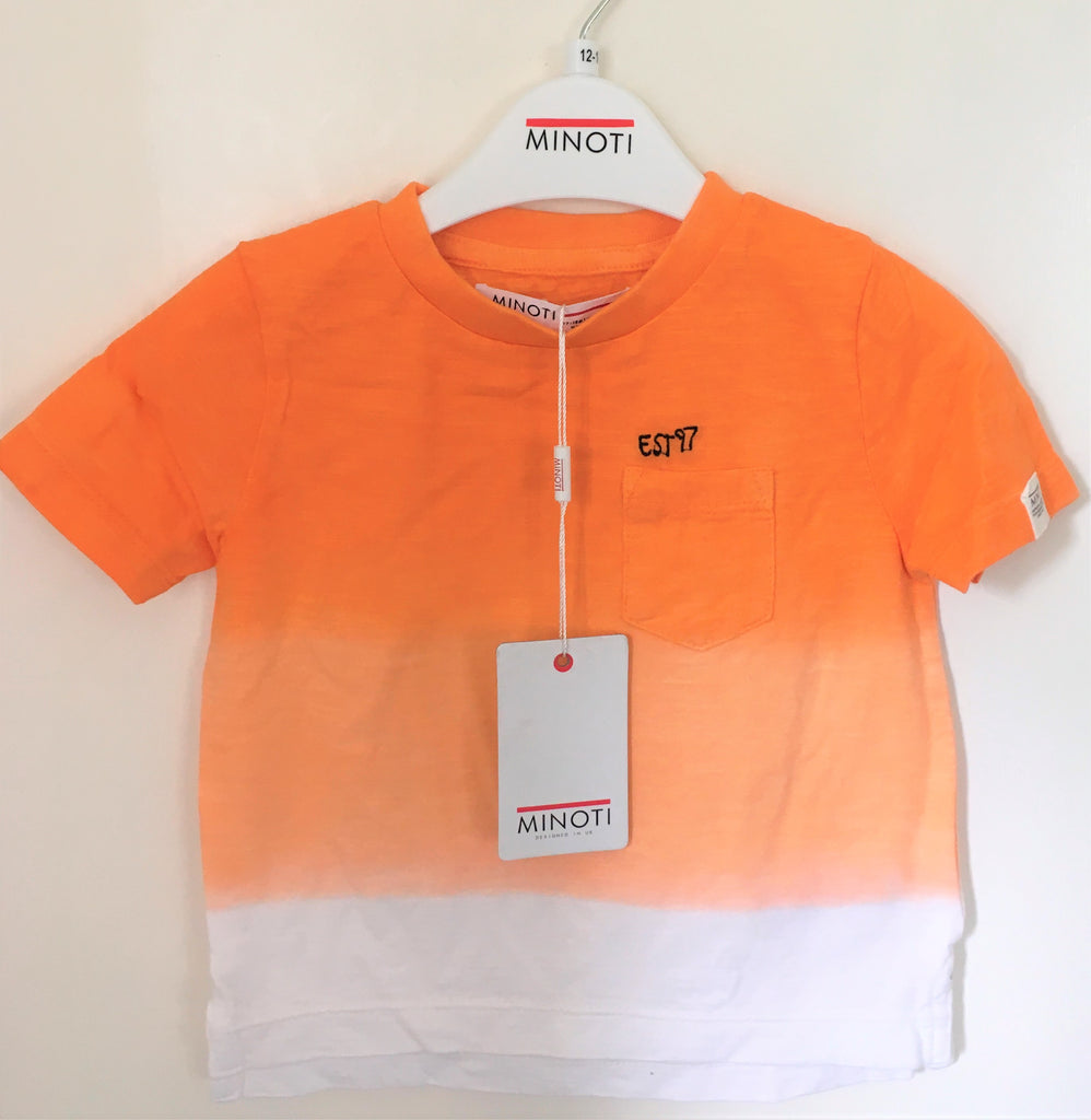 New Minoti Boys Dip Dye Gradient Tshirt Orange 100% Cotton Exstore - Ages 9-24 M