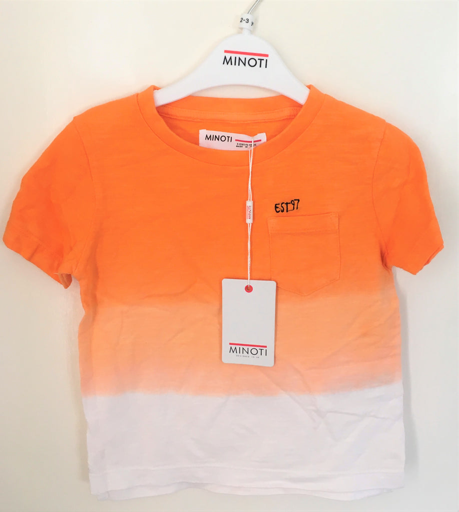 New Minoti Boys Dip Dye Gradient Tshirt Orange 100% Cotton Exstore - Age 2-3 Yrs