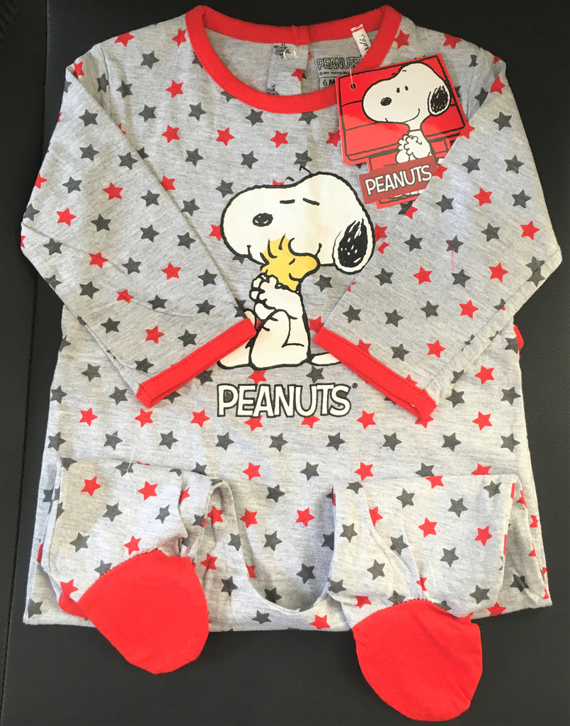 New Peanuts Snoopy Baby Boys Stars Babygrow - 100% Cotton - Official Peanuts - Ages 3-24M