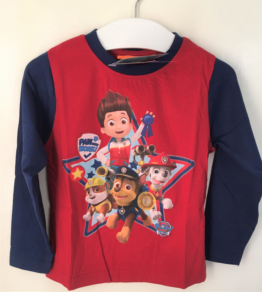 New Boys Paw Patrol L/Sleeved Top 2 Colourways Red/Blue - Bagged - Ages 3-8 Yrs