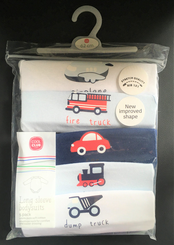 New Baby Boys L/S Bodysuits 5 Pack Vehicles - 100* Pure Soft Cotton - Exstore - Ages 0-3 Yrs