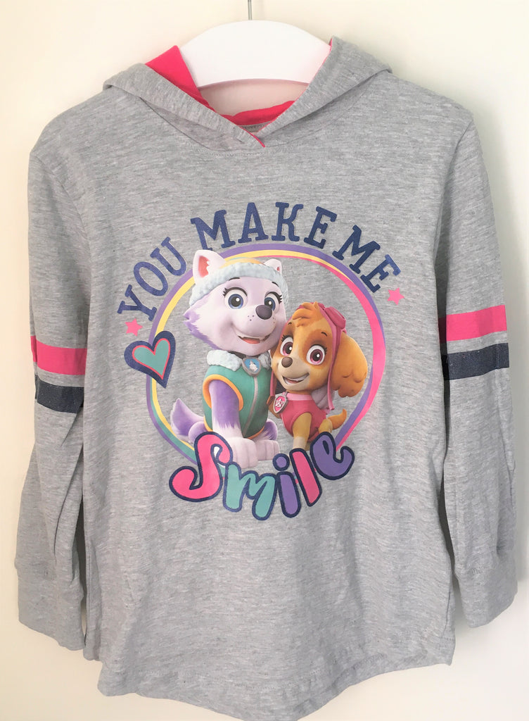 New Girls Paw Patrol Hoodie Lightweight - Marl Grey Exstore - Bagged - Age 6-7 Years