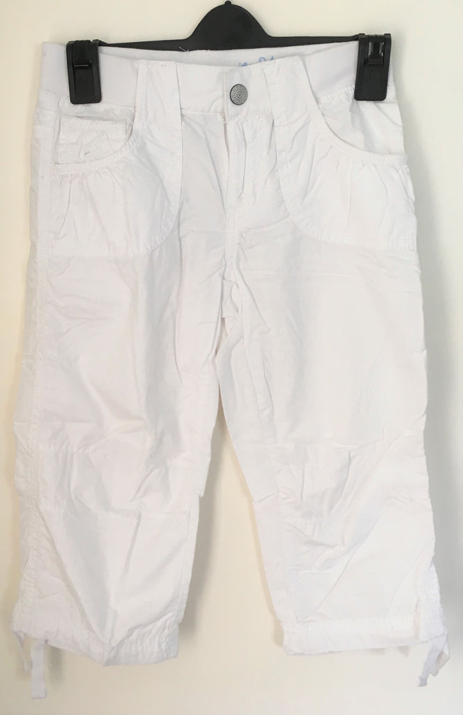 New Girls Capri Trousers 3/4 Length White 100% Cotton - Elasticated Part Waist - Ages 5-11 Yrs