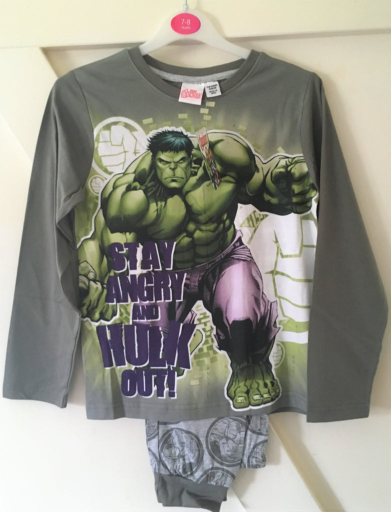New Boys Marvel Avengers The Hulk Pyjamas Set - 100% Cotton - Sizes 8-11 Yrs