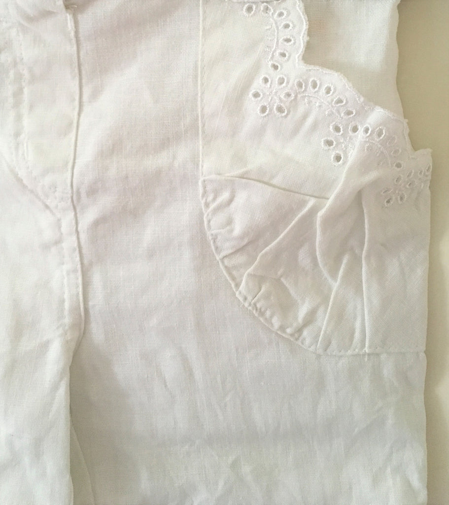 New Girls Linen Blend Cropped Shorts - Exstore Mini Mode - Antique White - Ages 9-24M