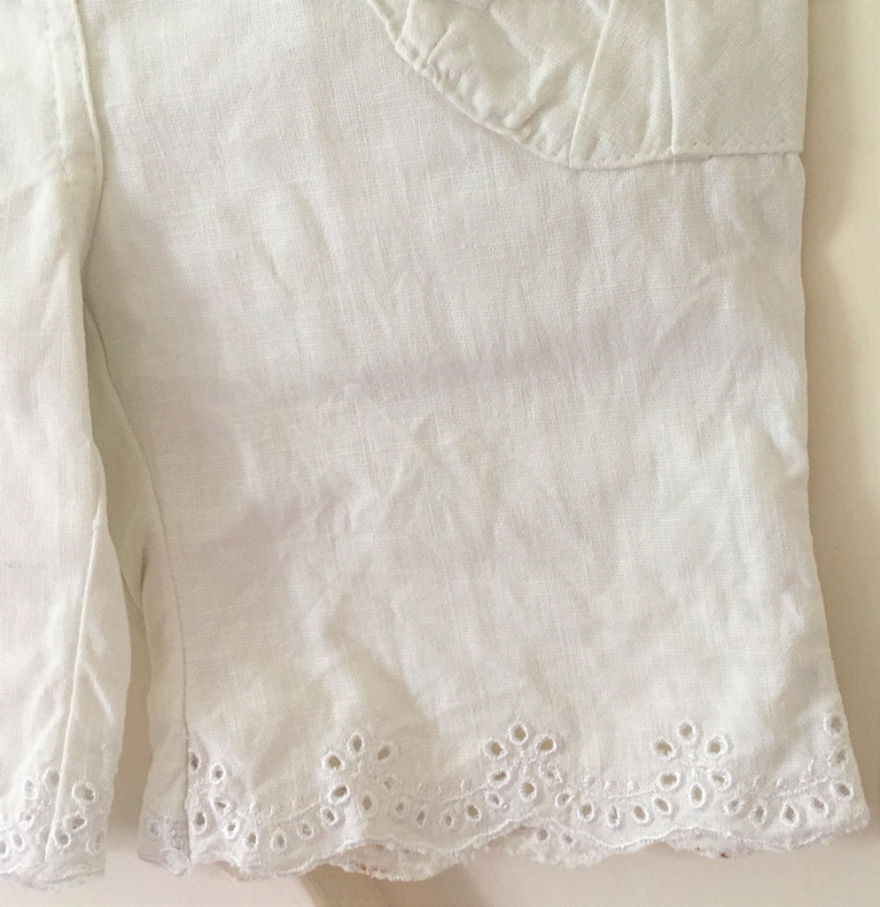 New Girls Linen Blend Cropped Shorts - Exstore Mini Mode - Antique White - Ages 2-4Y