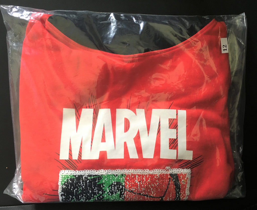 New Boys Official Marvel 2 Way Sequin Hoodie - Exstore Next Bagged - Red/Black - 100% Cotton - Age 13-14 Years