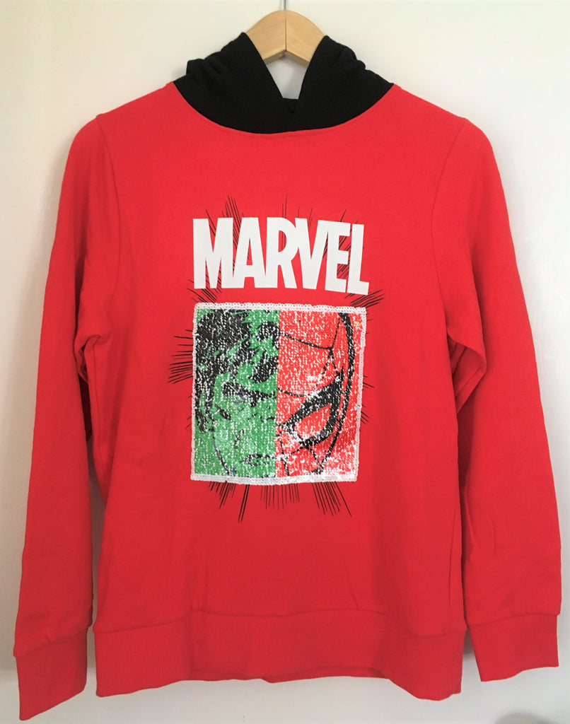 New Boys Official Marvel 2 Way Sequin Hoodie - Exstore Next Bagged - Red/Black - 100% Cotton - Ages 2-16 Yrs