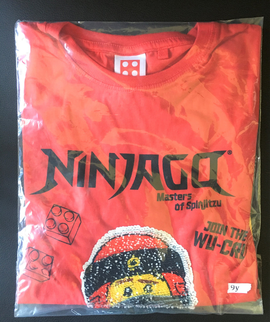 New Lego Ninjago Join the Wu Cru! Boys Flip Sequin Tshirt - Exstore Next - 100% Cotton - Ages 4-9 Yrs