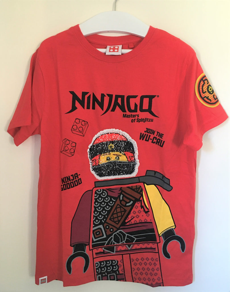 New Lego Ninjago Join the Wu Cru! Boys Flip Sequin Tshirt - Exstore Next - 100% Cotton - Ages 4-12 Yrs