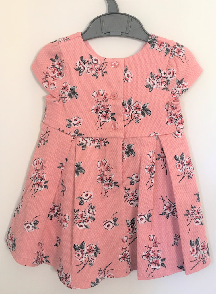 New Baby Girls Pink Textured Dress - Exstore Mothercare - Floral with Bows - Ages 3-24 M