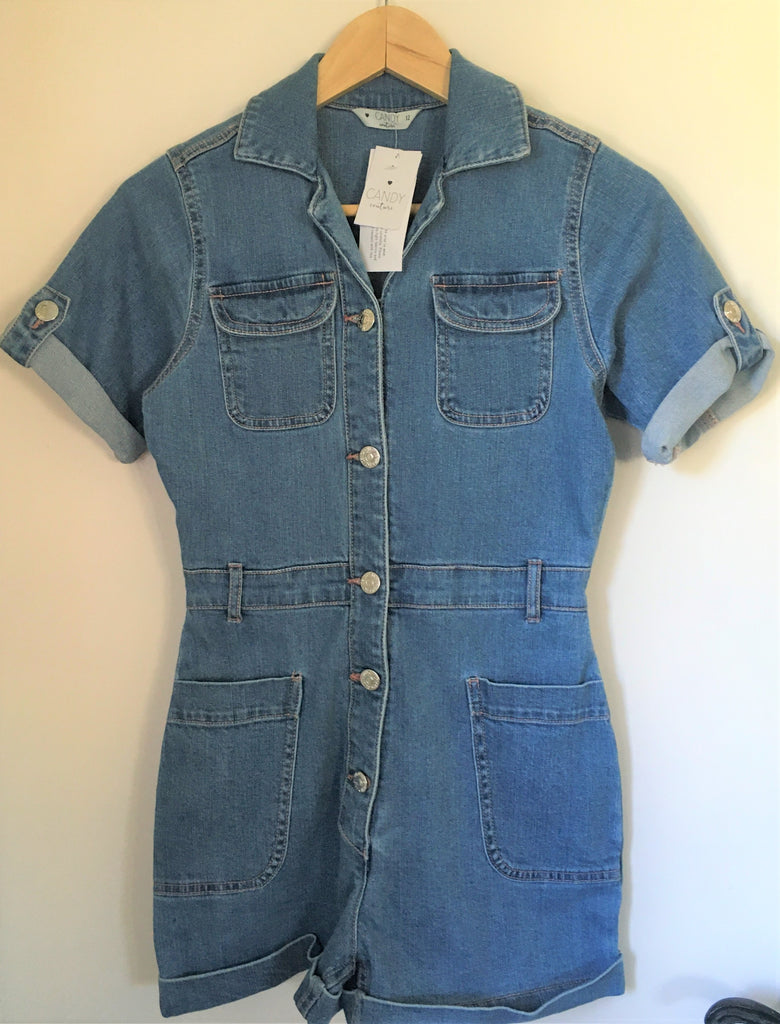 New Girls Denim Shorts Playsuit - Exstore Matalan - Candy Couture - Age 12 Years
