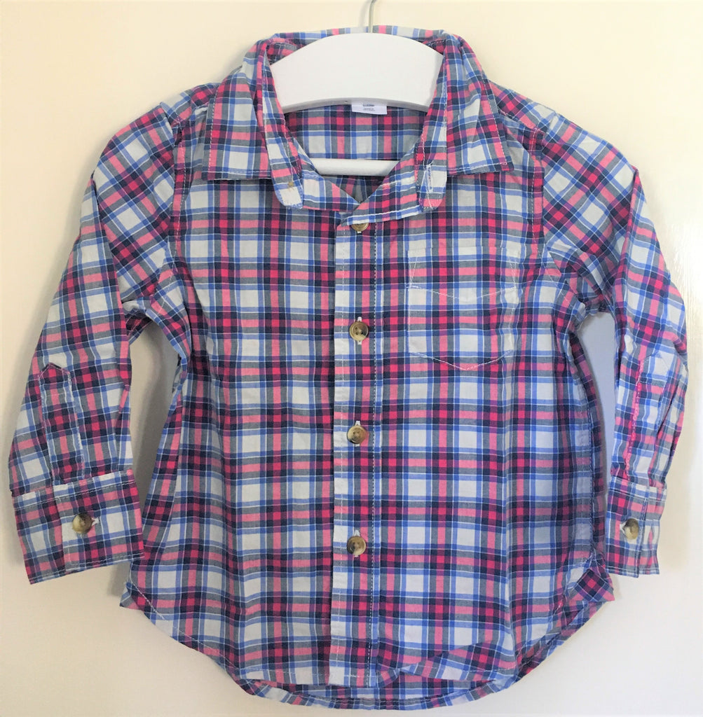 New Boys Checked Pink Blue Shirt - Exstore Gap - 100% Cotton - 2-4 Yrs