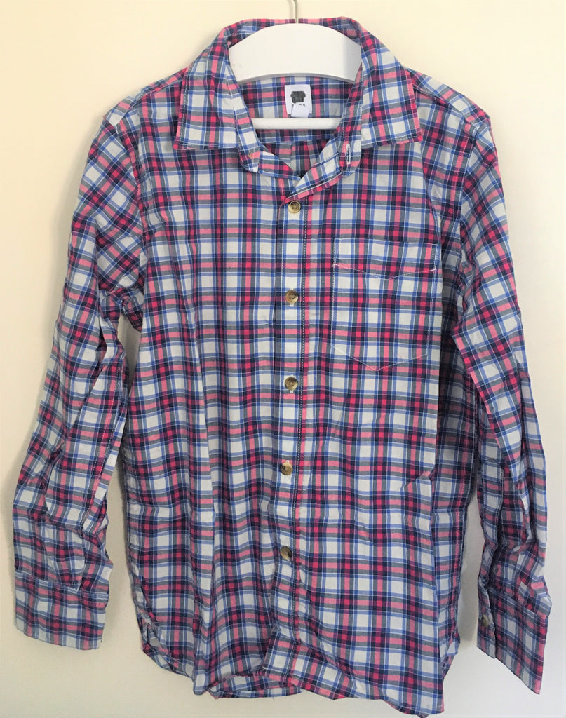 New Boys Checked Pink Blue Shirt - Exstore Gap - 100% Cotton - 6-13 Yrs