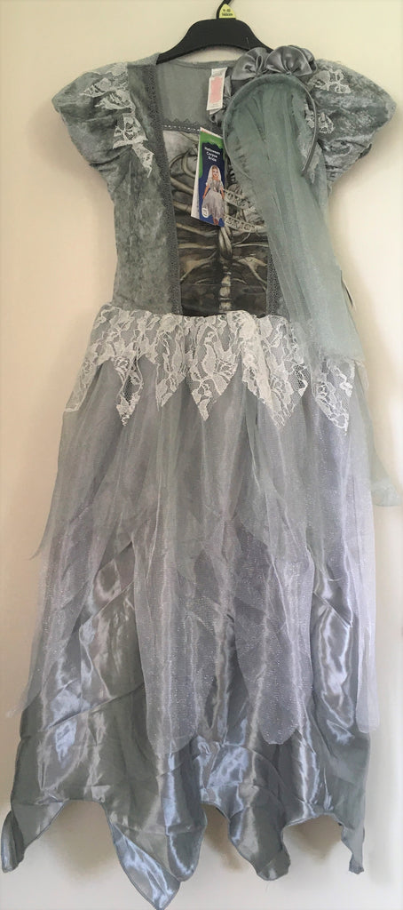 New Girls Halloween Corpse Bride Dress & Veil Set Exstore F&F - 9/10Y
