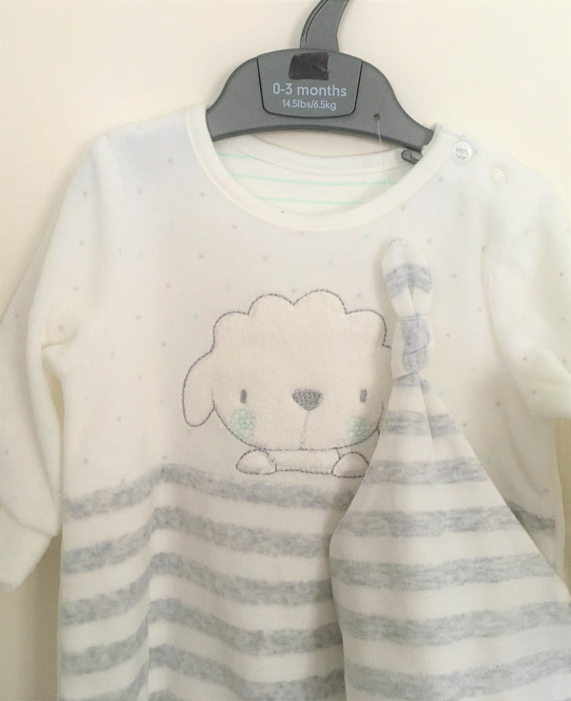 New Mothercare Baby Neutral Babygrow & Hat Set - Velour - Sheep Striped - Age 0-3M