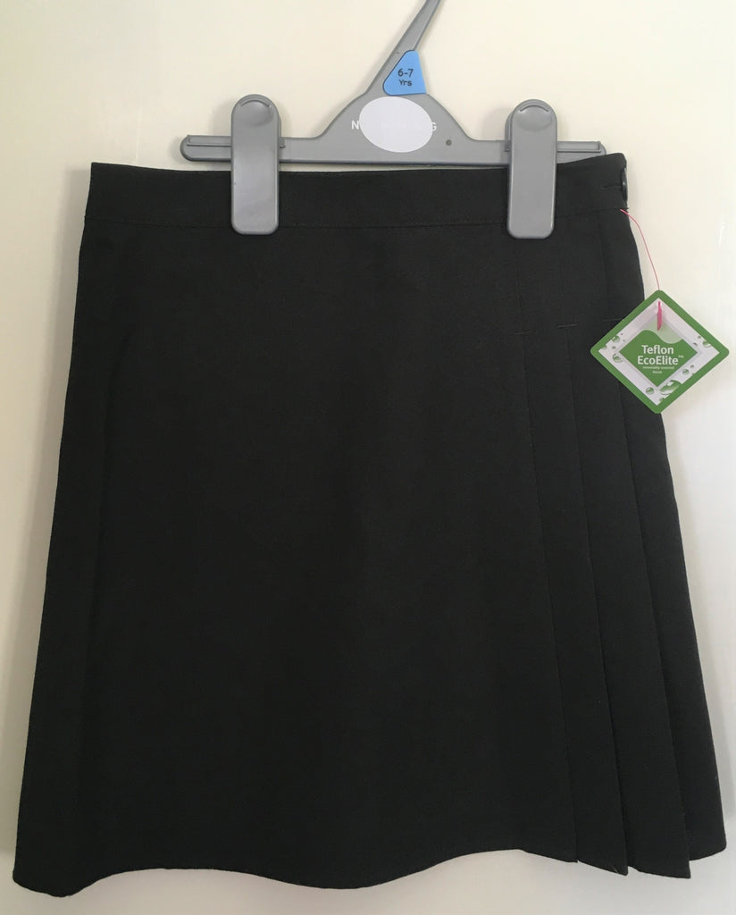 New Girls Nutmeg Morrisons Black Pleat School Skirt Teflon Protection Ages 4-9 Years