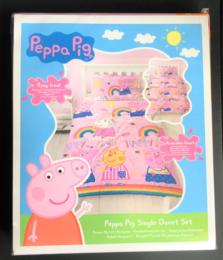 New Official Peppa Pig Hooray Single Duvet Set Christmas Gift