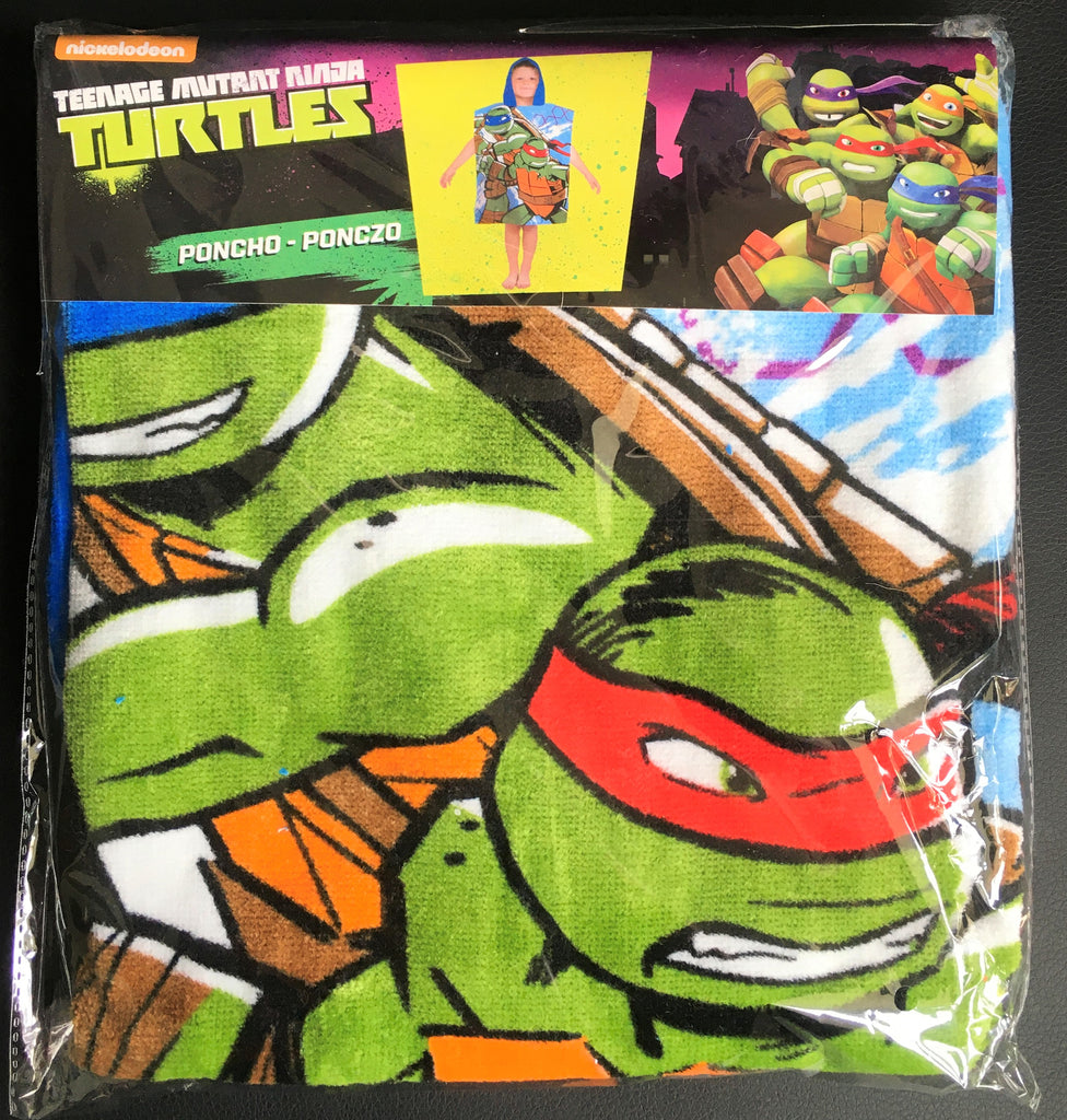 Official Teenage Mutant Ninja Turtles Character 100% Cotton Hooded Towel Poncho 2-6 Years