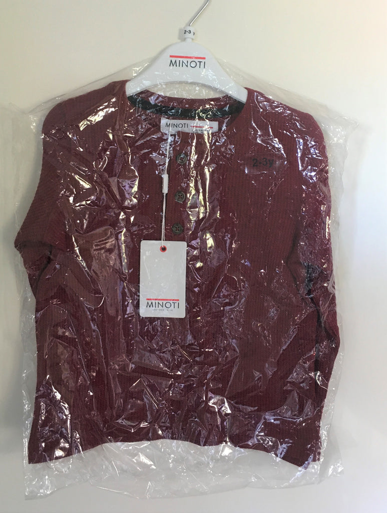 New Boys Waffle Grandad Top Colour Berry - Exstore Minoti - Age 2/3 Yrs