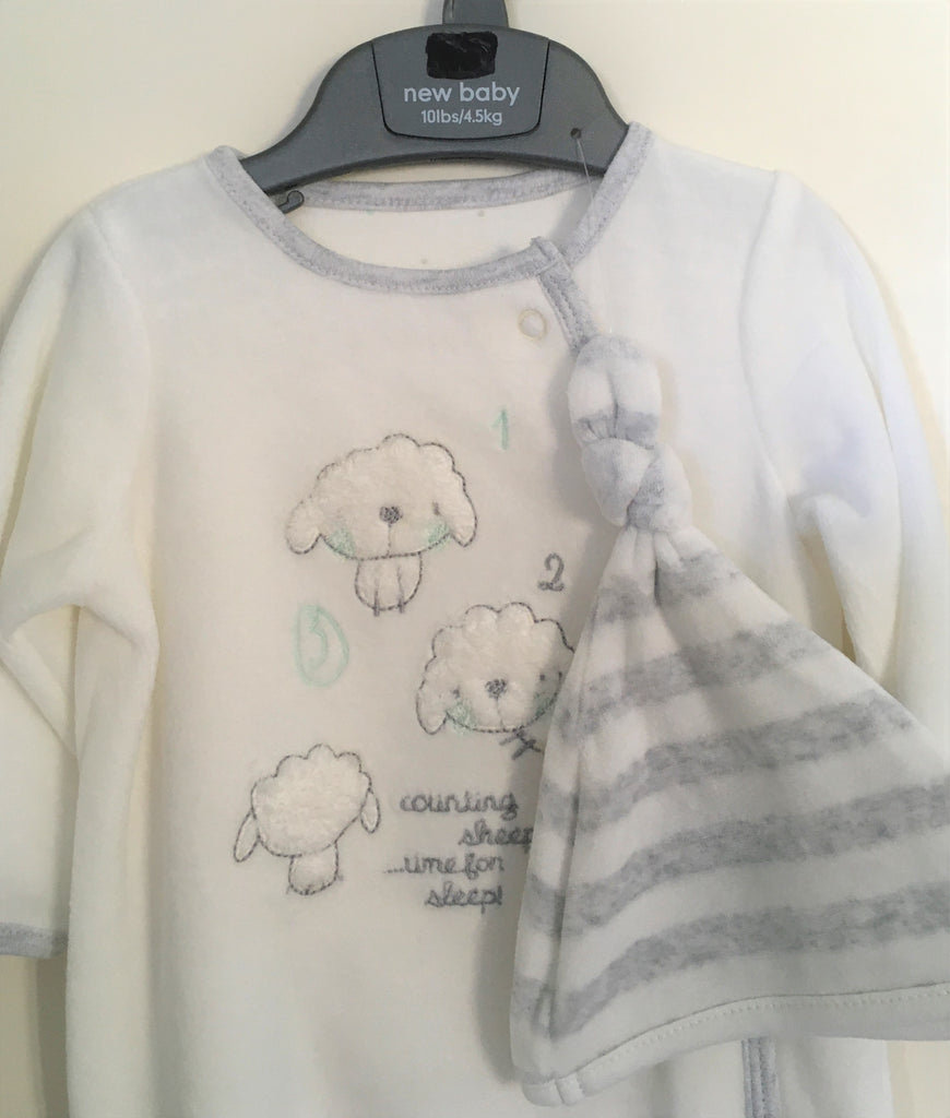 New Mothercare Baby Neutral Babygrow & Hat Set - Velour - Sheep Plain - 0-3M >10lbs