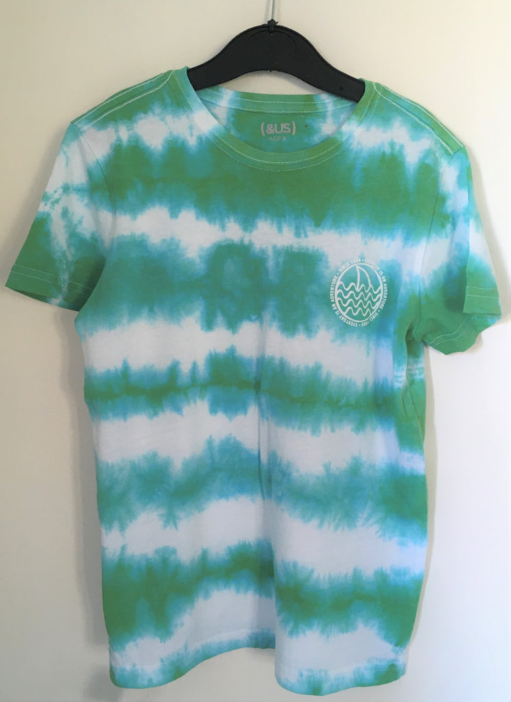 New Boys Tie Dye Tshirt Green & White - Exstore - 100% Cotton - Ages 8-13 Years