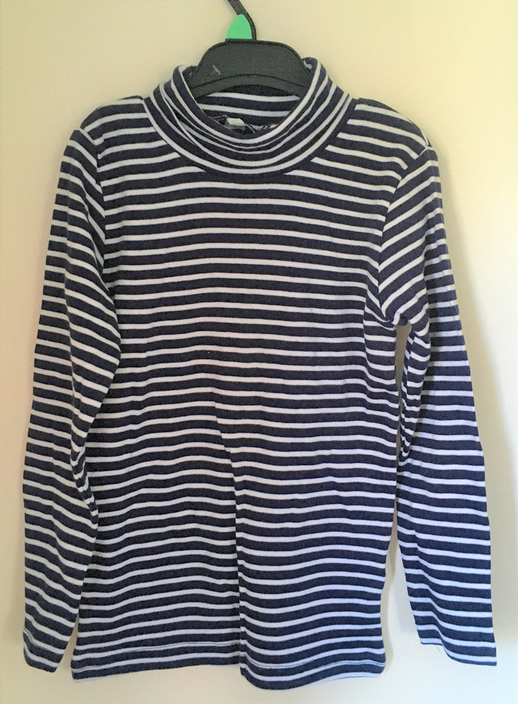 New Exstore H&M Girls Striped Polo Neck Top 100% Cotton Blue/White Age 6/7 Yrs