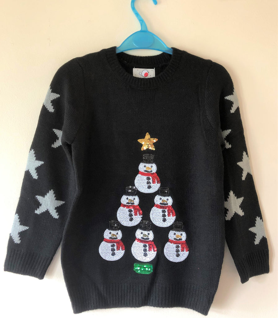New Girls Christmas Snowman Sequin Knit Jumper Black - Exstore Highstreet - Ages 7-9 Years