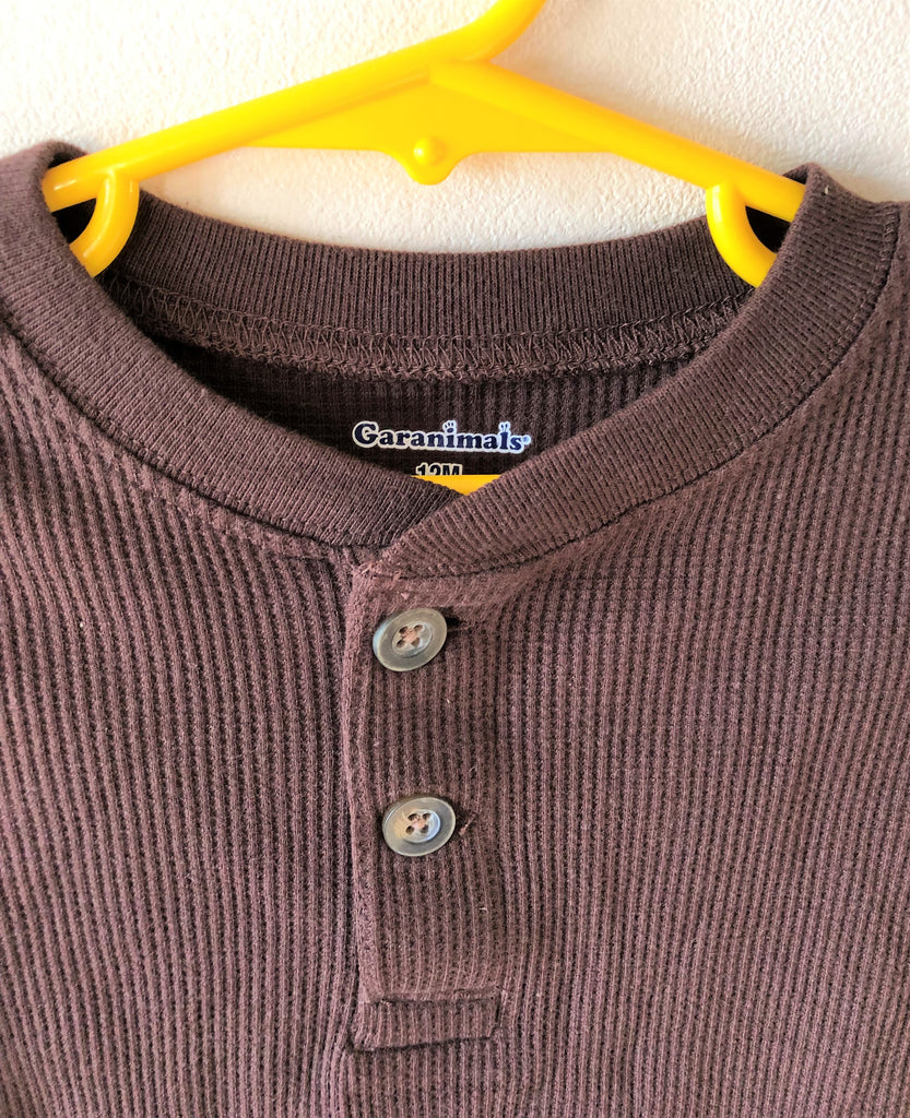 New Baby Boys Grandad Waffle Top - Exstore Garanimals - Chocolate - Size 12 Months