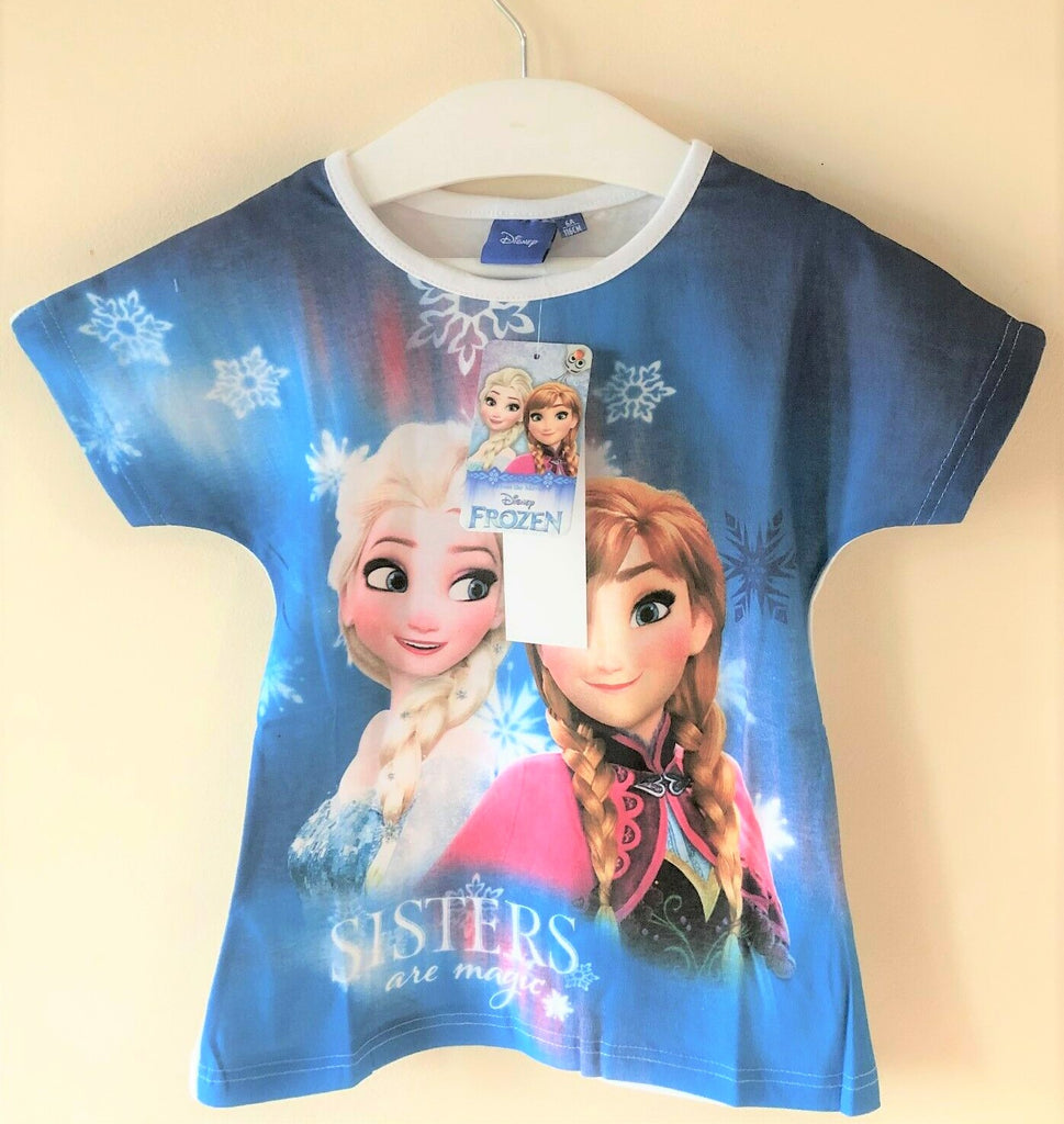 New Disney Girls Frozen Sisters are Magic White Blue Tshirt - Official Exstore -  Ages 4/5 6 8 10Y