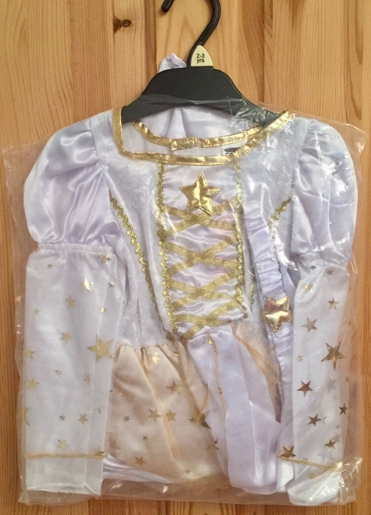 New Girls Christmas Gold Angel Dress Up Costume - Exstore Tesco - 2 Pc Age 2/3Y