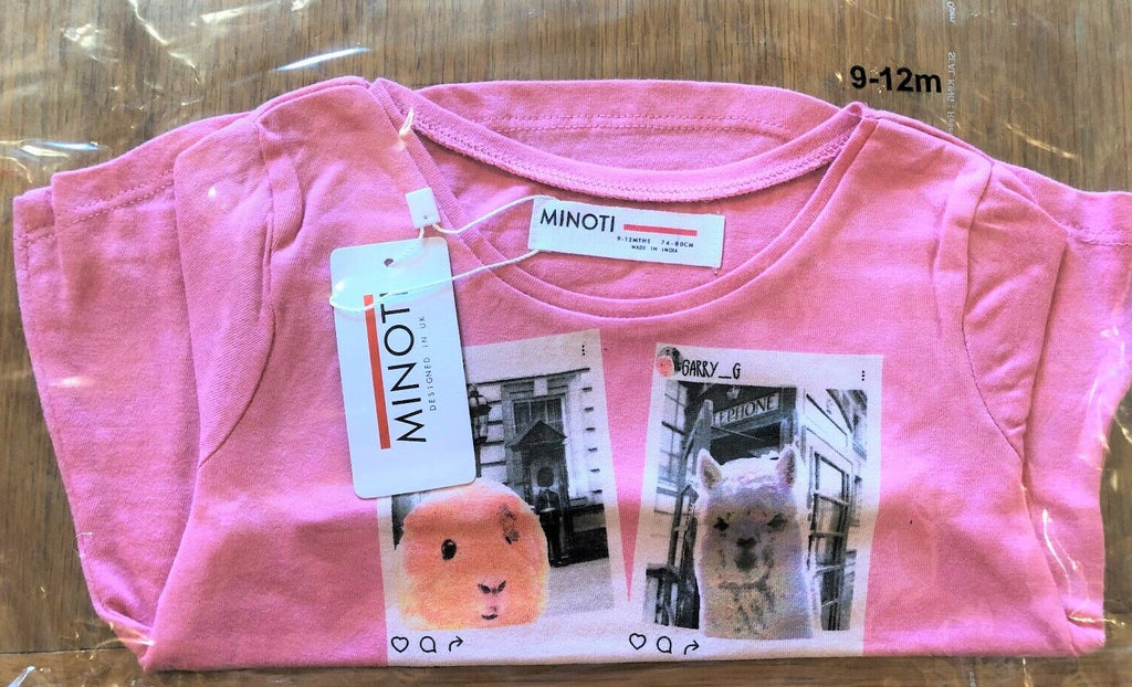 New Minoti Baby Girls Pink Animal London Explore L/S Top Ages 9-24 Months