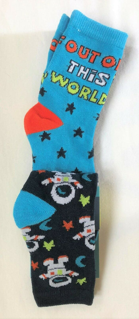 New Exstore Boys 3 Pack Cotton Rich Vibrant Astronaut Socks Size 9-12
