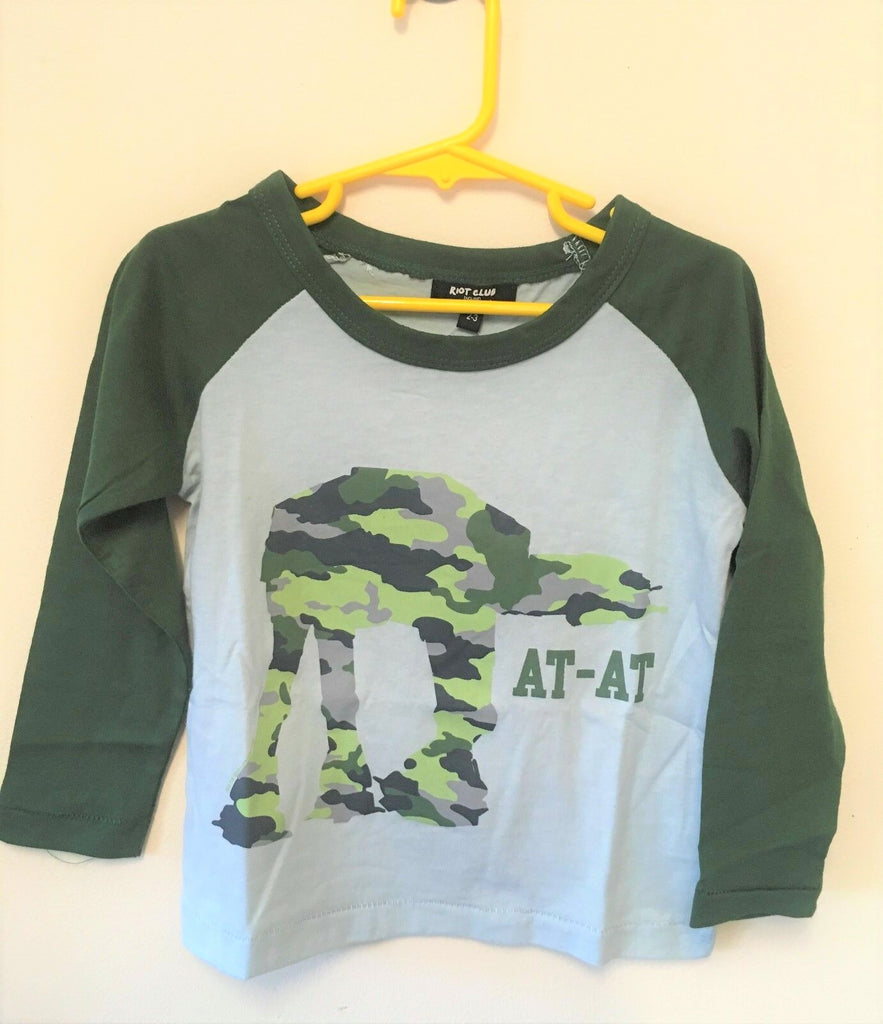 New Boys AT-AT Star Wars Camoflauge Top - Exstore Riot Club - 100% Cotton - Ages 2-8 Yrs