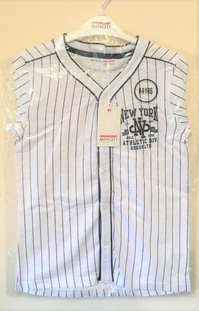 New Boys Baseball Shirt New York Athletic Division White - Exstore Minoti - Ages 8/9,9/10,12/13Yrs