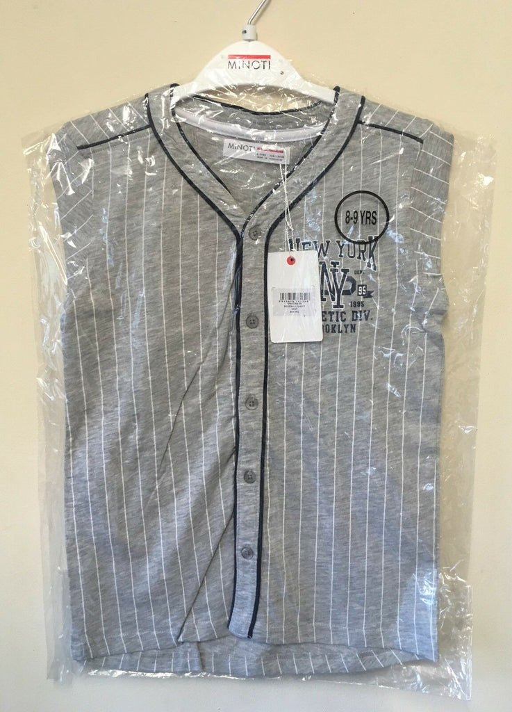 New Boys Baseball Shirt New York Athletic Division Grey - Exstore Minoti - Ages 8-13 Years