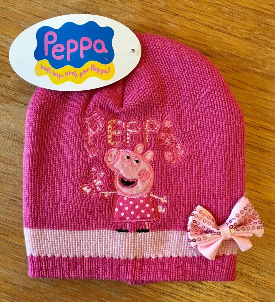 New Girls Peppa Pig Pink Beanie Knit Hat - Sequin Bow - One Size 2-6 Years