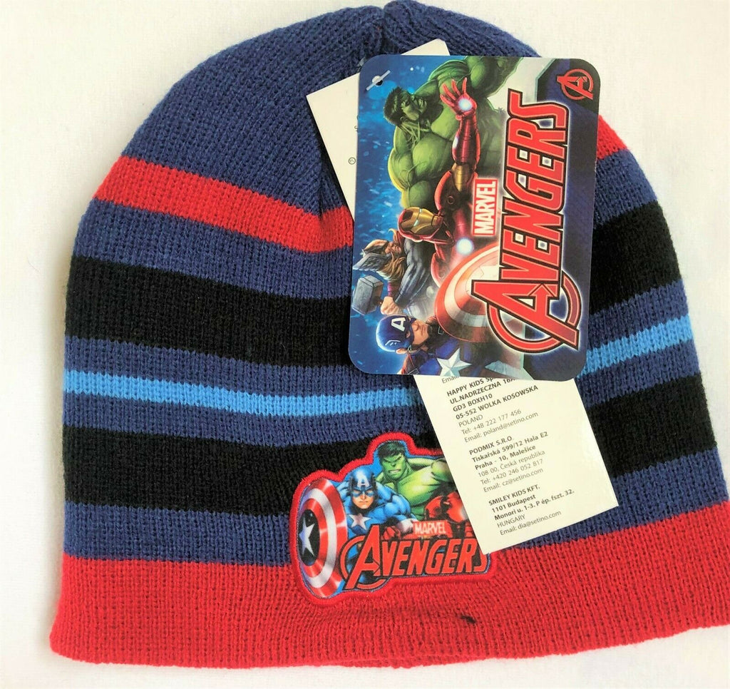 New Boys Marvel Avengers Boys Knit Beanie Hat Red & Blue - Exstore - Age 2-8 Yrs