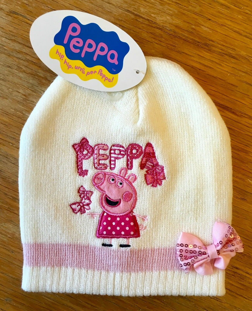New Girls Peppa Pig Cream Beanie Knit Hat - Sequin Bow - One Size 2-6 Years