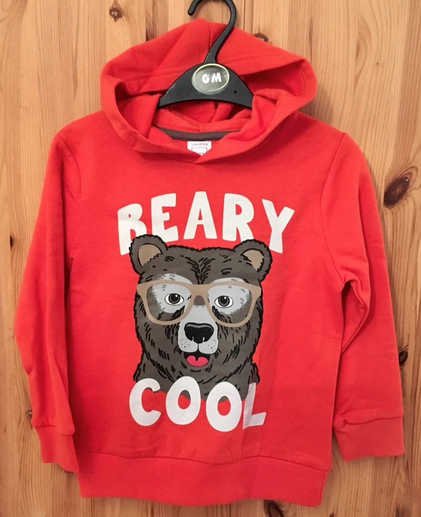 New Boys Warm Orange Hoodie Beary Cool Winter - Exstore - 100% Cotton - Sizes 2-7 Years