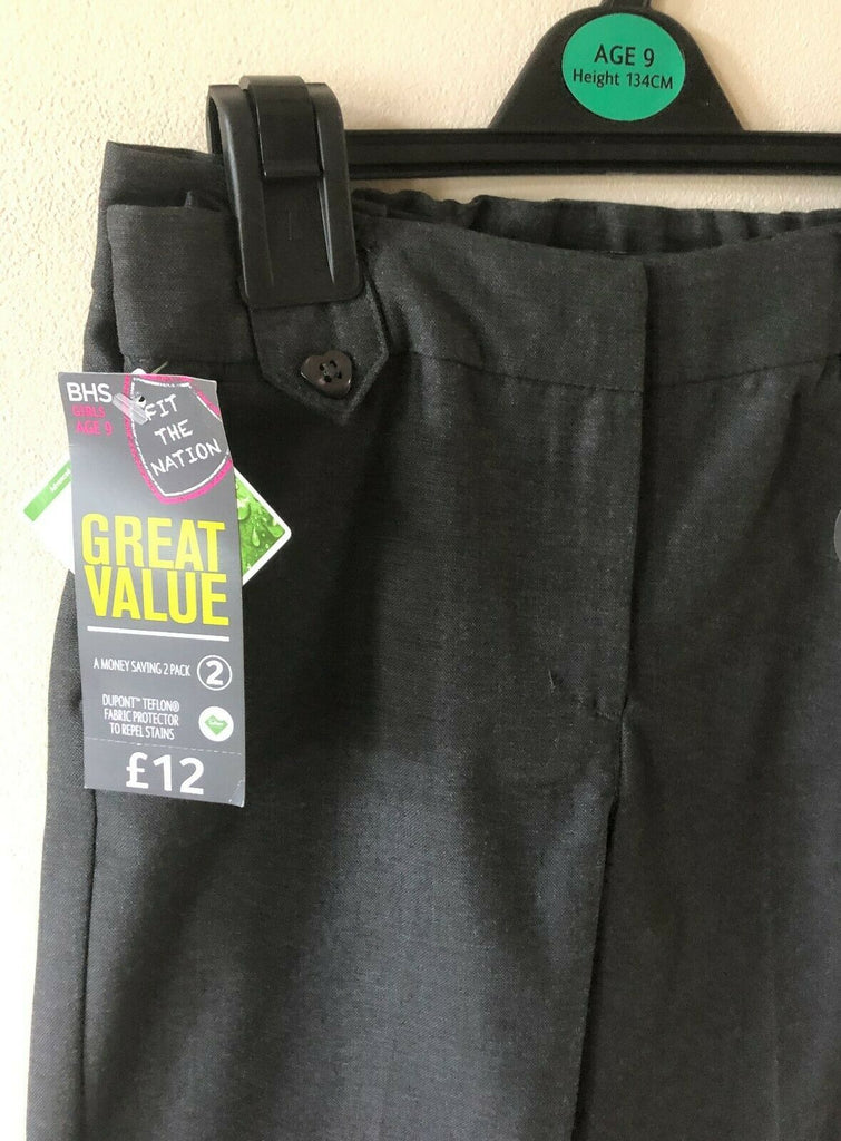 New Girls 2 Pack Grey School Trousers - Exstore BHS - Adjustable Waist - Ages 8 & 9 Years
