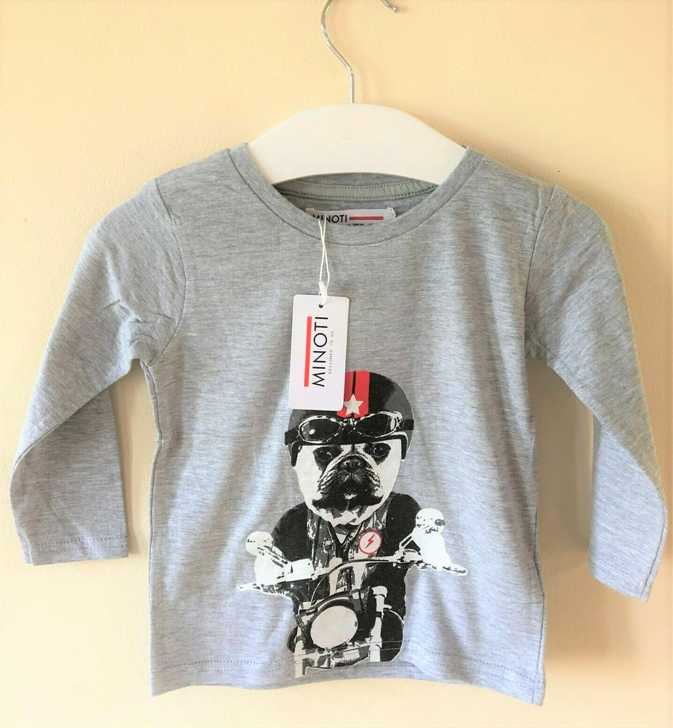 New Baby Boys Biker Dog Long Sleeved Top Grey - Exstore Minoti - Ages 9-24 Months