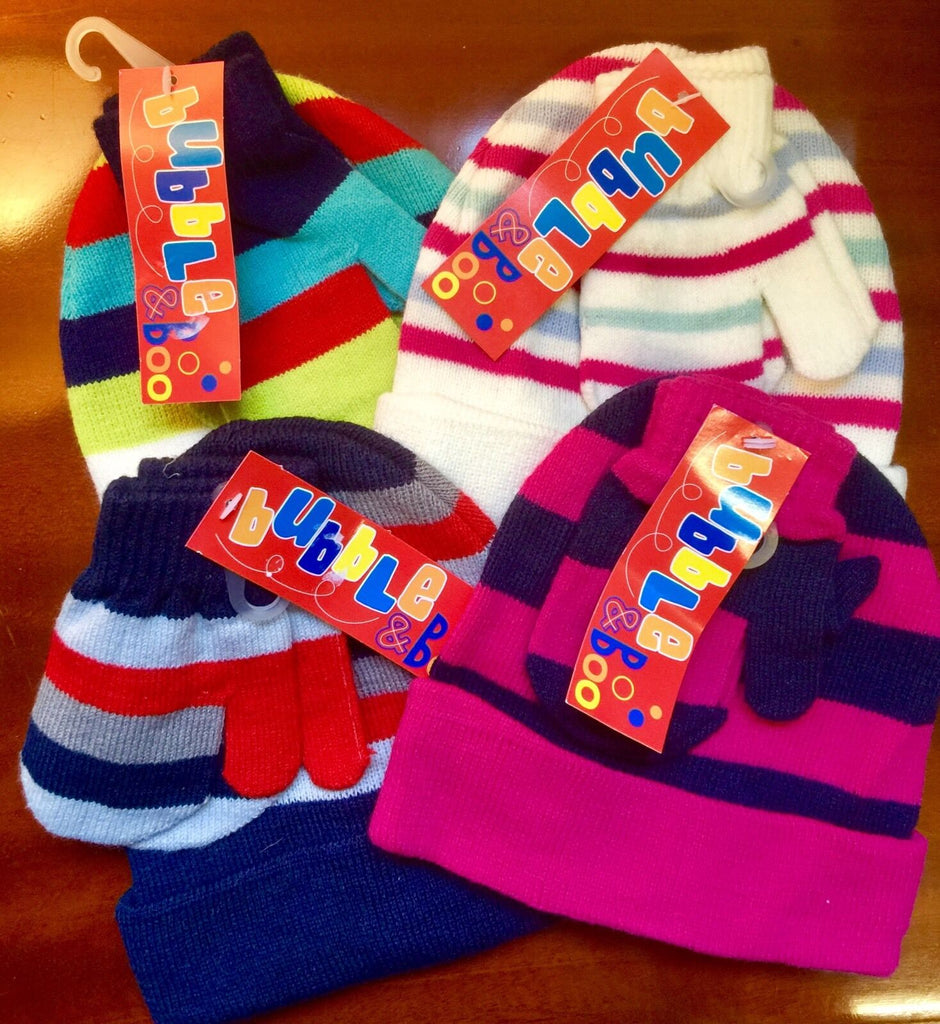 New Girls Warm Hat & Mitten Set - Exstore Bubble & Boo - 4 Colourways - 2-4 Yrs
