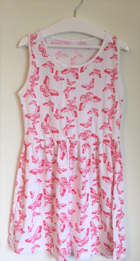 New Girls Butterfly Print Dress Pink White - Exstore In Extenso - Age 9-10 Years