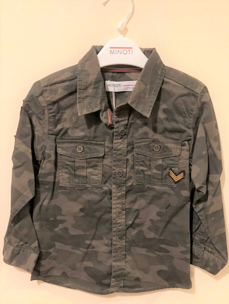 New Boys Yay 10 Camoflage Shirt Brown 100% Cotton - Exstore Minoti - Ages 2-3 Years